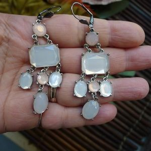 2 Pairs Silver Pink Boho Ethnic Earrings